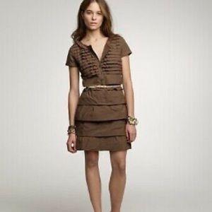 J. CREW Gray Ruffle Tier Sheath Dress Size 0